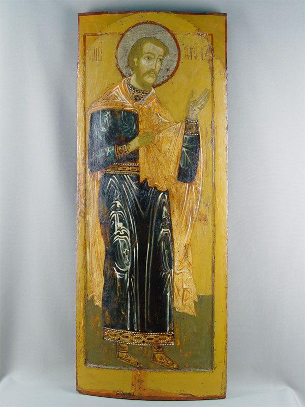 Лот 27687. Икона «Святой Флор», дерево, левкас, темпера, XVIIвек, размер: 90×36см