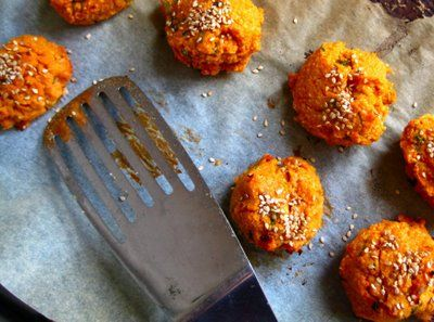 Sweet Potato Falafels: Food Recipes, My New Roots, Chickpeas Flour, Falafels Recipes, Sweet Sweet Potatoes Falafels, Eating, Sweet Potatoes Vegans, Sesame Seeds, Vegans Falafels
