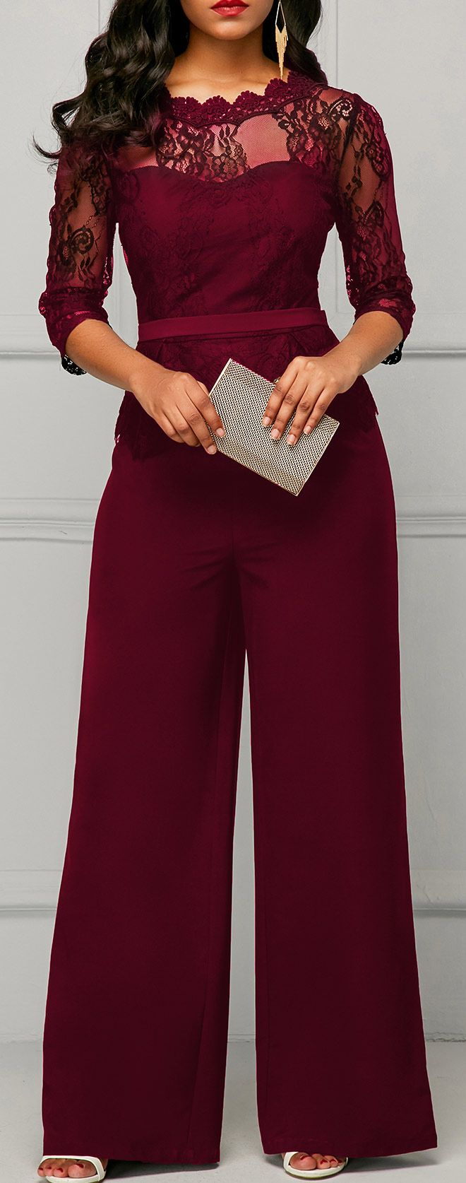 Peplum Waist Lace Panel Burgundy Jumpsuit.