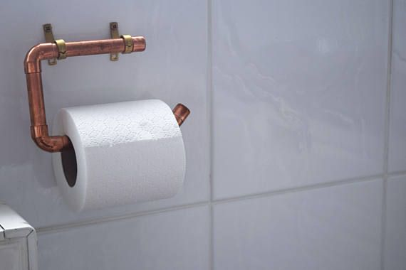 Hand Made Copper Toilet Roll Holder Etsy Toilet Roll Holder Wall Mounted Toilet Toilet Roll