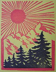 Beautiful California (lisascenic) Tags: california trees mountain mountains art illustration print landscape miniature interestingness graphic carving letterboxing stamp explore printmaking linocut lisascenic linoleum rubberstamp pinetrees woodblock blockprinting reliefprinting lisalazar i500 carvederaser