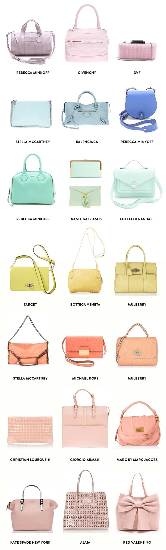 """""""A rainbow of pastel bags for spring."""""""
