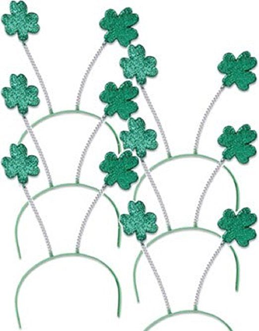 """Set 6 St Patricks Day Green Shamrock Head Boppers Hats. This set of 6 green shamrock clover head bobber headbands are the perfect accessory for St. Patricks Day, and all things Irish! Adult standard size for men and women is about 21"""" - 22"""" circumference, will fit most adults and larger children, but this is not a child-size item. Great on their own and even better with the costumes and accessories available in our store!"""