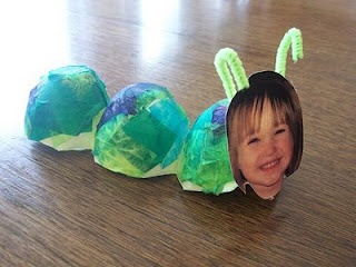 Egg carton caterpillar. I like the idea of using tissue paper instead of paint.
