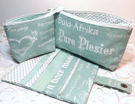 Mint zipper pouches / Pencil case / Clutch / Make up Cosmetic bag / Wallet / Credit card Case made with Afrikaans Printed Novelty Fabric via Etsy