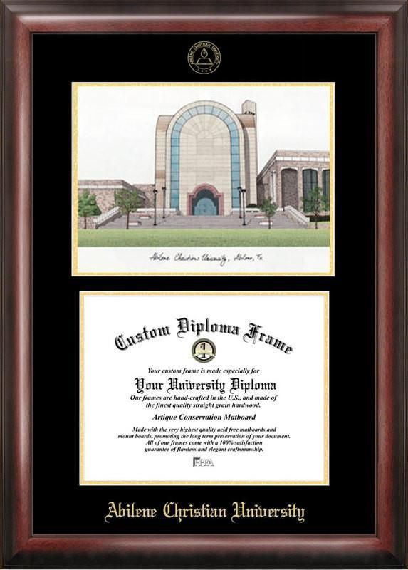 Lamar University Gold embossed diploma frame with Campus Images lithograph