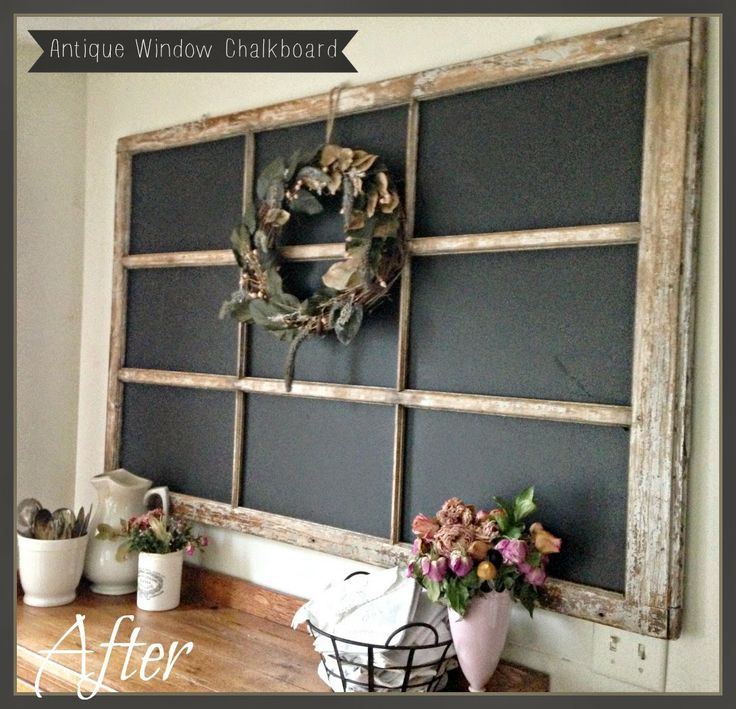BrocanteuseRose: Antique Window Chalkboard Makeover Not a huge fan of chalkboard, but love this idea with fabric covered corkboard.
