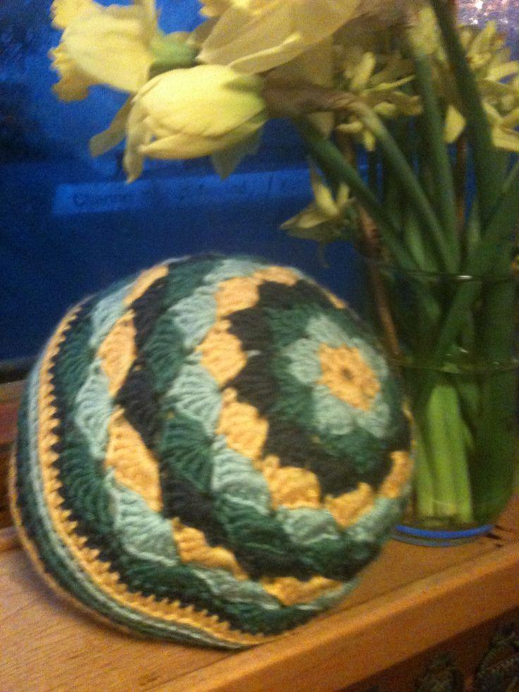 Isaac's ball - my first bit of 3d crochet.