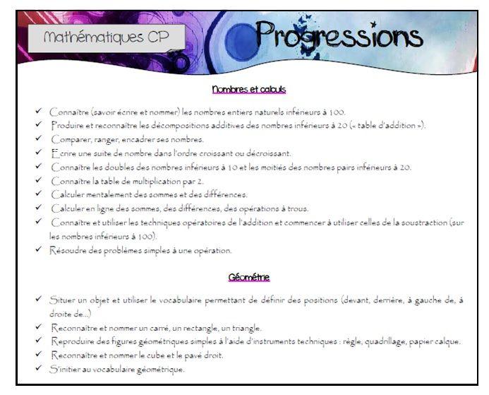 Progressions - programmations CP 2013 - 2014