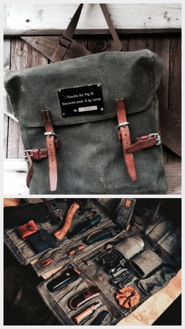 Vintage Swiss Army Canvas & Leather Bushcraft Tool Bag
