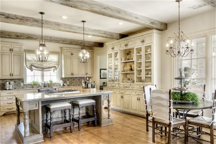 Love this kitchen!!!: Gorgeous Islands, Dreams Kitchens, Kitchens Beams, China Cabinets, Lanterns Pendants, Glasses Front Cabinets, Stools Tucks, Beams Colors, Cabinets Lov