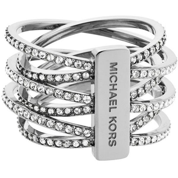 Michael Kors Pave Crisscross Band Ring (£85) ❤ liked on Polyvore featuring jewelry, rings, bracelets, accessories, pave jewelry, michael kors bracelet, steel ring, michael kors jewelry and pave bracelet