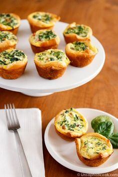 Mini Spinach Breakfast Quiches #foods #recipes