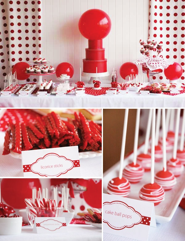 super cute:http://www.hostessblog.com/2011/03/real-parties-classic-red-ball-birthday/