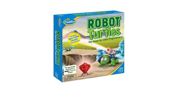 """Robot Turtles is the most-backed board game in Kickstarter history! It sneakily teaches programming fundamentals to kids ages 4 and up. Inspired by the Logo programming language, the game lets kids write programs with playing cards. The parent """"computer"""" moves the turtles according to the program -- but watch out for bugs! Debugging, longer code strings, and functions, as well as obstacles for the turtles to move around or smash through, add additional complexity as kids get the basics…"""