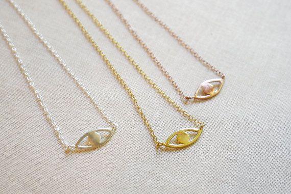 Collier mauvais œil Or Or Rose ou un collier argent par amandadeer
