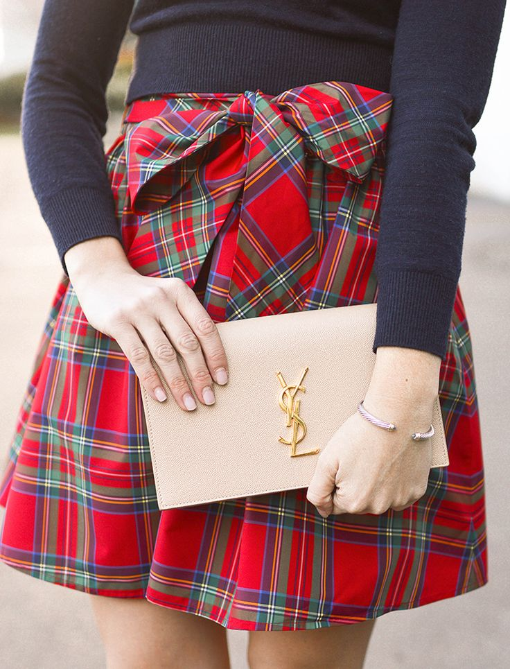 tartan plaid skirt, navy crop sweater and suede heels   how to style a tartan skirt   winter skirts   holiday outfit ideas   Christmas style tips   what to wear for the holidays   women's holiday outfits    a lonestar state of southern #tartanskirt #holidayoutfit #holidaystyle