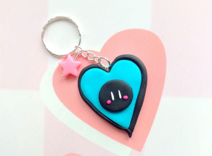 Clannad dango daikazoku -  Anime keychain - cute polymer clay charm - kawaii black blue bag charm by CreaBia on Etsy