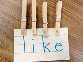 Clothes pins & sight words {kinesthetic letter-matching activity} ( need to search for this but love her blog! From what I could see so far )