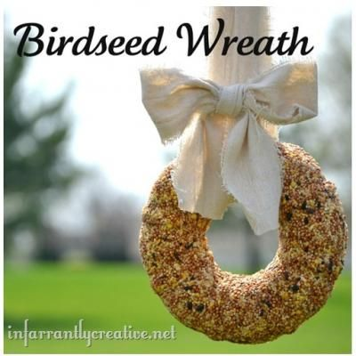 DIY Birdseed Wreath Tutorial... these would be great Christmas gifts