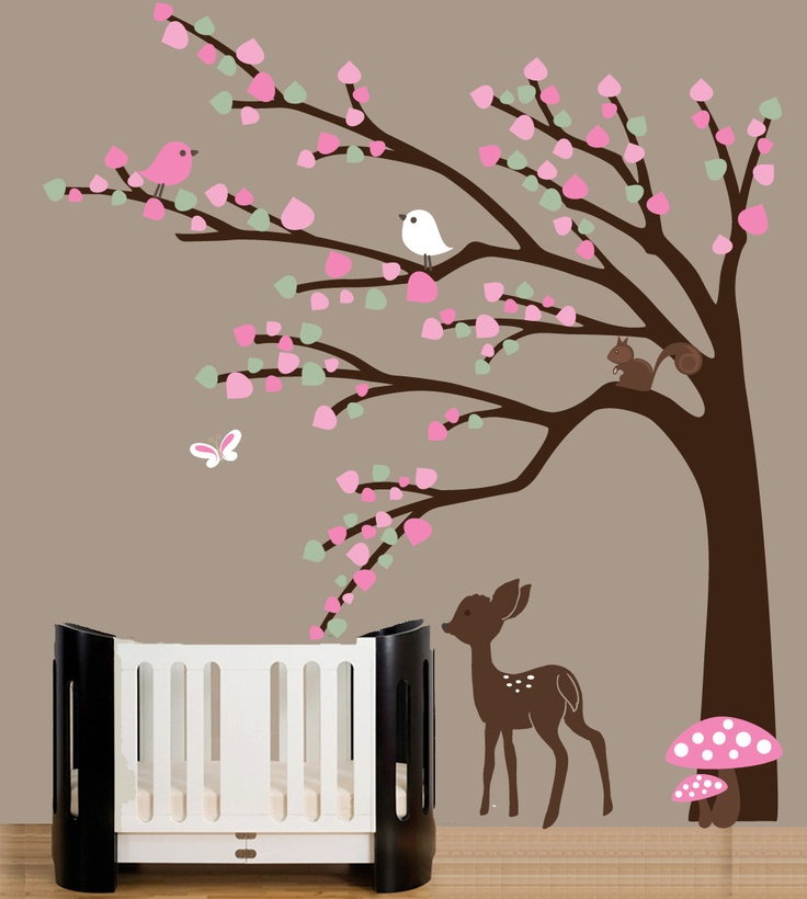 deer Nursery | Baby nursery forest wall art decal with baby deer decal, birds ...