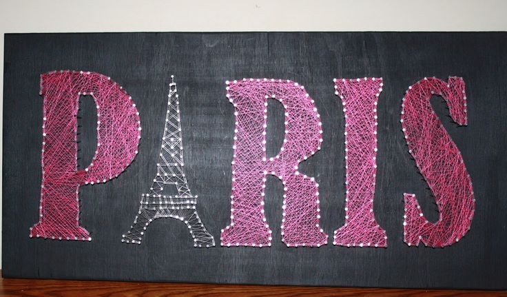 One of a kind string art for Paris lovers. The A is substituted with the Eiffel tower and would look great in any girls bedroom, or decor for a woman young at heart. heART of Sarah: STRING ART