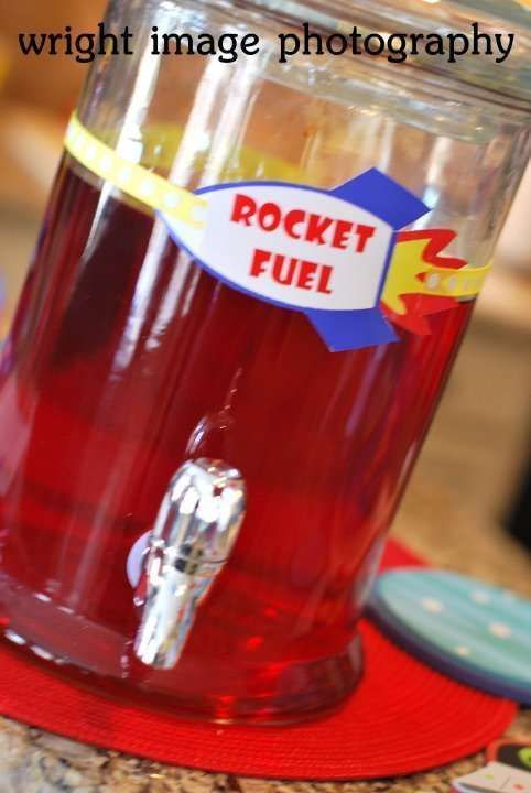Rocket Fuel Drink Idea For Space Themed Birthday Party Rocket Fuel Drink Idea For Space T In 2020 Space Theme Party Rocket Birthday Parties Space Party Decorations