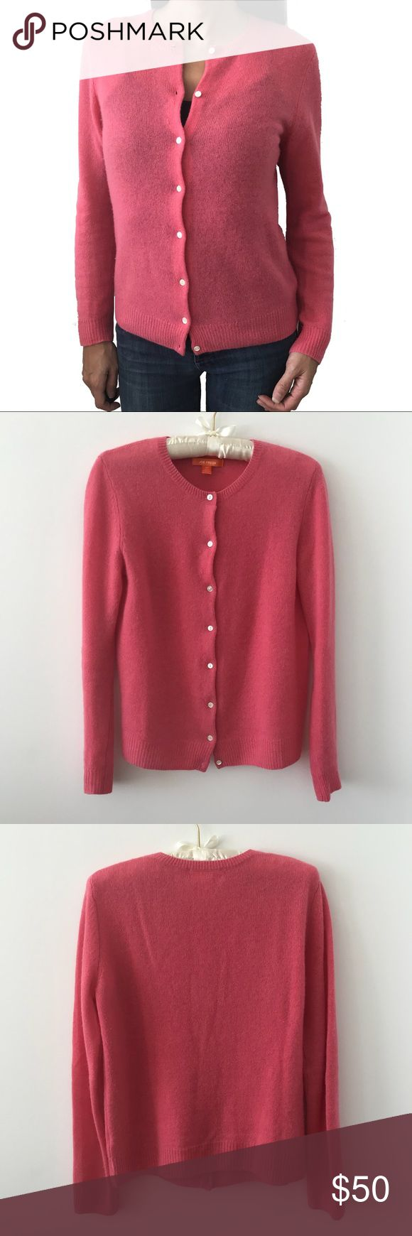 """Joe Fresh 100% Cashmere Crewneck Pink Cardigan So soft and luxurious. 100% Cashmere crewneck cardigan by Joe Fresh. In an adorable baby pink with pearl-white colored buttons.   Size S.  18"""" pit to pit (laying flat).  22"""" length.   Well-cared for item in excellent condition. Joe Fresh Sweaters Cardigans"""