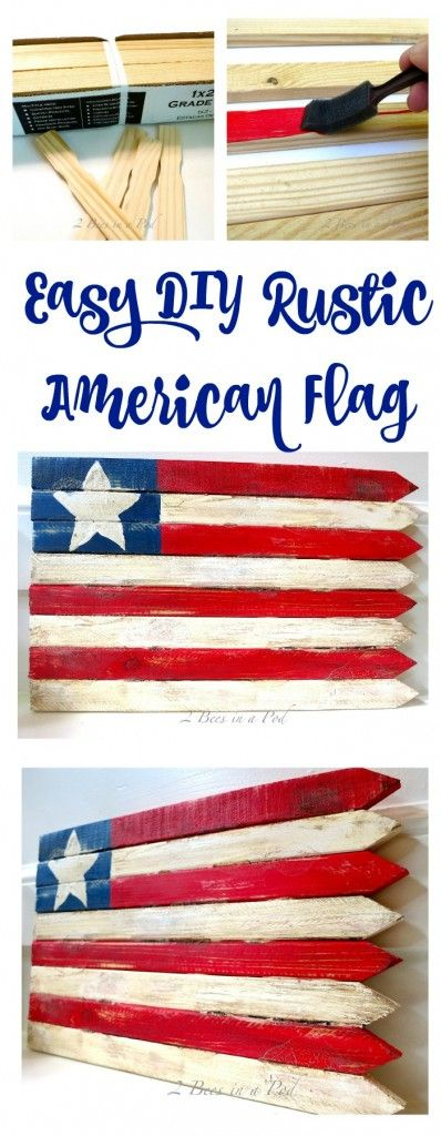 DIY Wooden American Flag. Easy to make rustic American flag. Wooden stake flag. Make a flag with wooden grade stakes. DiY flag. Red white and blue flag. Red white and blue decor. American decor. Easy DIY decor. Fourth of July decor. July 4th decor. Memorial Day decor. American decor.