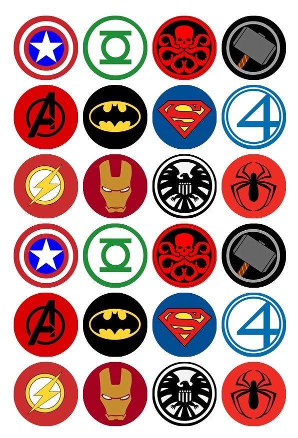 24 x Superhero Logos Edible Cupcake Toppers Pre-Cut in Home & Garden, Parties, Occasions, Cake   eBay