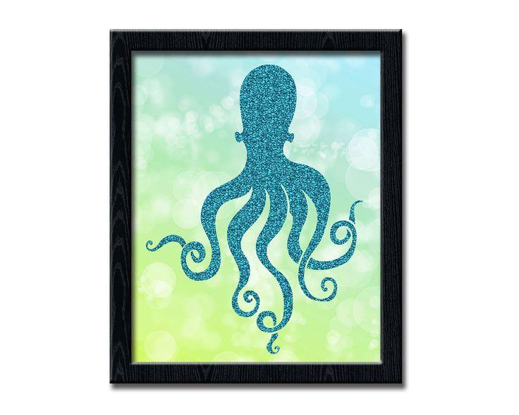 Octopus Print, Nautical Nursery, Glitter Print, Beach Home Decor, Bathroom Decor, Ocean Decor, Kid's Room Decor, Teal Decor wp270 by dreamONprints on Etsy