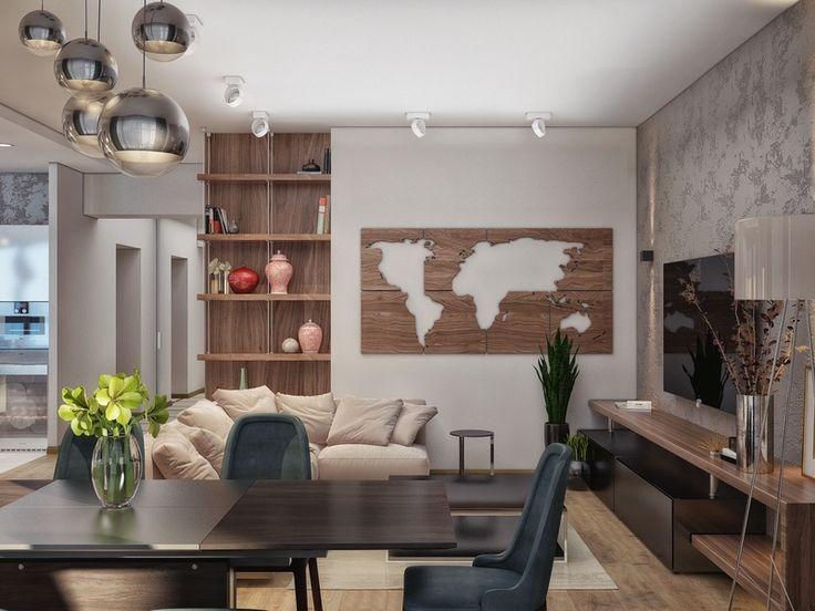 Гостиная настенный-декор карта мира - Дизайн интерьера квартиры, ул. 25 лет Октября