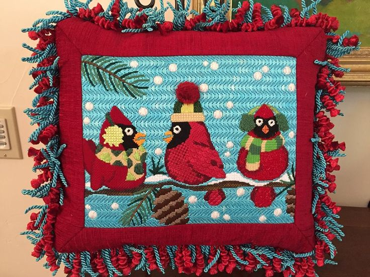 Raymond Crawford cardinal needlepoint pillow