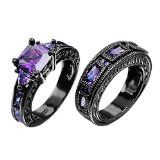European Style Amethyst Two Pieces Promise Rings for Couples Black Gold Plated