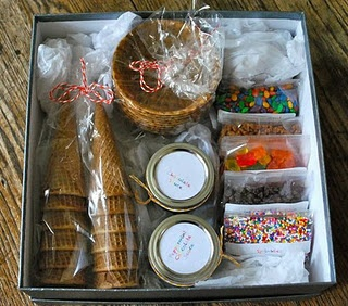 Ice Cream Kit: Took this idea a step further and put it in a fun basket, tied pretty ribbon around each jar/bag, and included some cozy PJ bottoms.  Brings back the days of slumber parties.