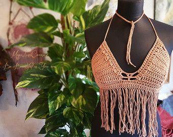 Crochet dos flor de tono arriba/Halter top por MayaLunaCorazon