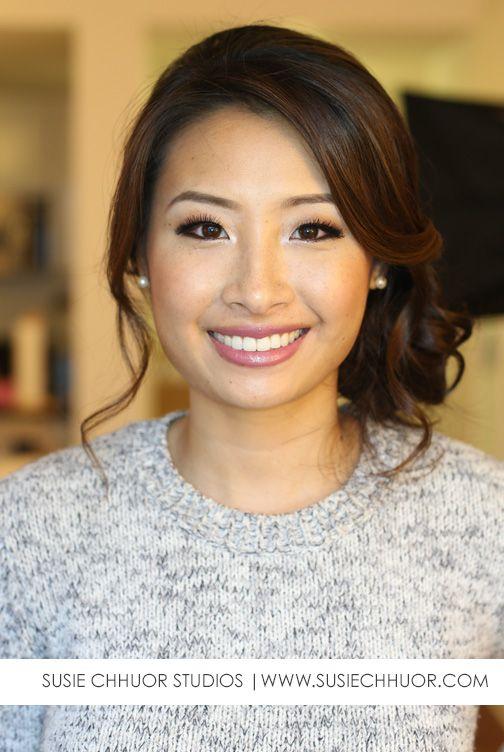 asian bride asian eyes side up do smokey brown eyes lashes gorgeous pretty
