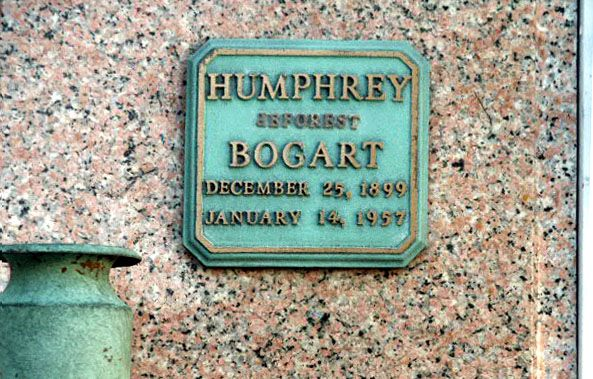 THE GRAVE OF HUMPHEY BOGART  (star of Casablanca, The Maltese Falcon, The African Queen, Key Largo, etc.) at Forest Lawn in Glendale, California