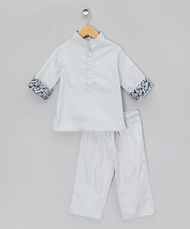 Blue Mandarin Collar Long Pyjamas - Infant, Toddler & Kid by La Piyama on #zulilyUK today!