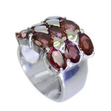 delicate Garnet Silver Red Ring jaipur L-1in US 5678