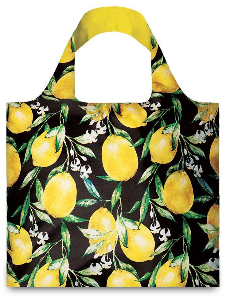 LOQI Lemons Reusable Shopping Bag - Yellow/Black - One-Size | ESSENTIALAPPAREL saved by #ShoppingIS