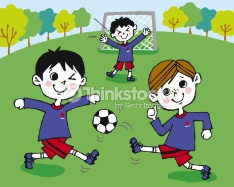 Stock Illustration : Children playing football, Painting, Illustration, Illustrative Technique, Front View
