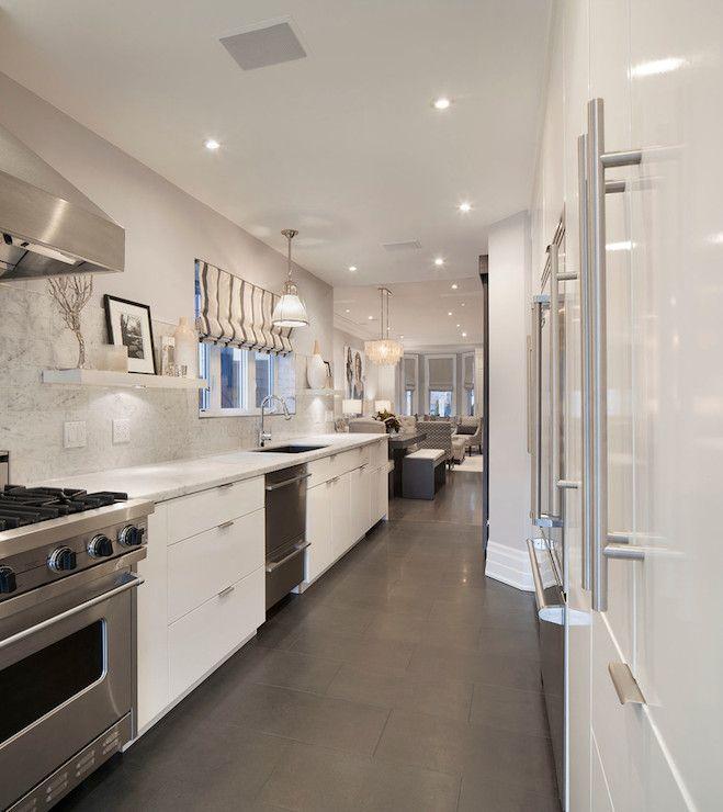Contemporary gray & white galley kitchen