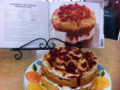 Yummo! @Cooking with Tenina Holder's wonderful Raspberry & Almond Meringue Cake.