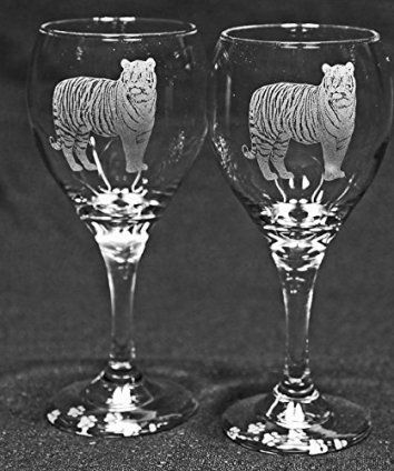 Bengal Tiger Cat Laser Etched Wine Glass Set (2, TDW)  If you are crazy for cats consider using trendy, fun and cool cat themed home decor.  Cat home decor is cute, adorable and charming.  Use cat accent pillows with cat wall clocks to create a cat themed living room or bedroom.  For the kitchen consider using a nice combo of cat drinking glasses and cat kitchen decor to create a perfect cat oasis. Don't forget to finish off your  cat home decor with a cuddly cat throw blanket or a couple…