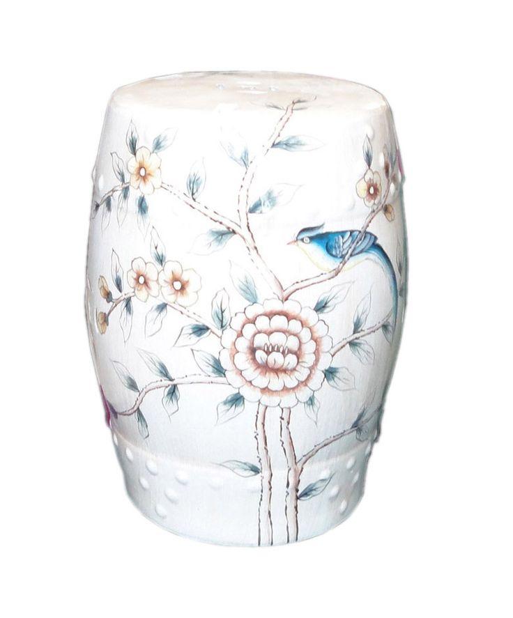 Beige Porcelain Bird Flower Round Stool Ottoman vs140s