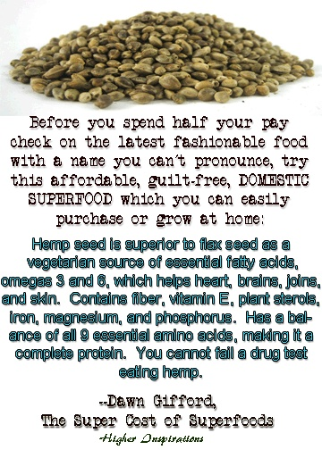 Hemp seed is superior to flax seed as a vegetarian source of essential fatty acids, omegas 3 and 6, which helps heart, brains, joins, and skin.  Contains fiber, vitamin E, plant sterols, iron, magnesium, and phosphorus.  Has a balance of all 9 essential amino acids, making it a complete protein.  You cannot fail a drug test eating hemp.    http://pinterest.com/higherinspire/super-foods-quinoa-taking-back-our-power/  http://www.smallfootprintfamily.com/ten-affordable-american-superfoods