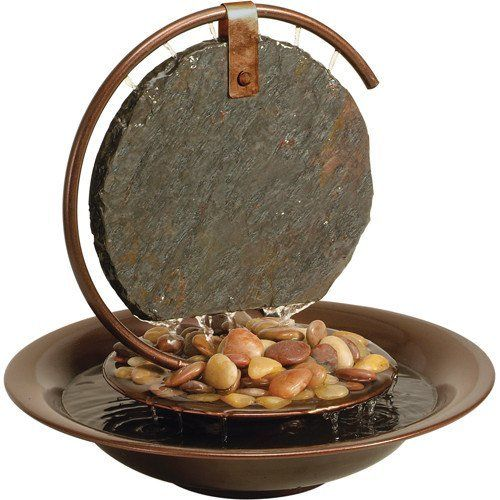 Bluworld Mini Moonshadow Slate Tabletop Fountain w/LED Light Ring | Small Indoor water fountain | Office Desk Decor | Tabletop Fountain | Gift Ideas