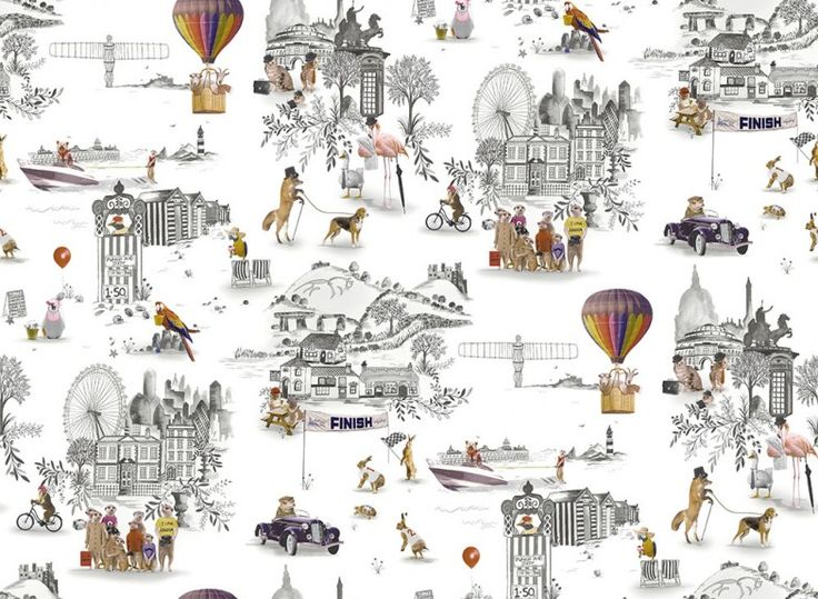 Trip (97640) - Albany Wallpapers - Trip is an eccentrically British design. The design is a traditional black and white toile with a novel British twist. Brightly coloured animals take on a variety of traditional British holiday activities in front of traditional British scenes. Please request a sample for true colour match.