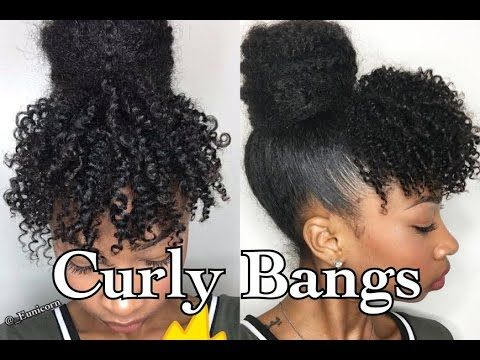 Faux Curly Bangs+ Marley Bun | Short/ Medium 4a/3c Hair - YouTube